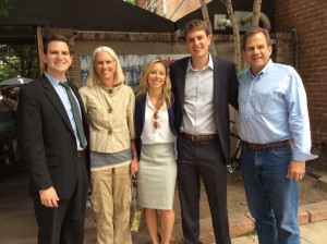 Stan Garnett's family, left to right: younger son, Andrew, a deputy DA in Denver; wife, Brenda, a retired educator and school psychologist; daughter-in-law, Emily; older son, Alec, a state representative from Denver; and Garnett himself.