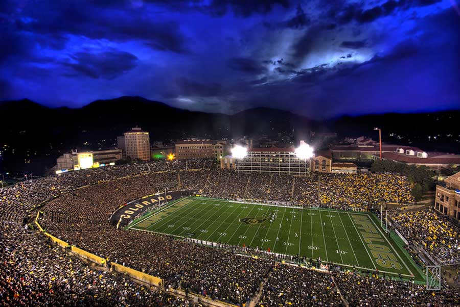 The excitement of a night game packs Folsom Field.(photo courtesy CU Athletic department)