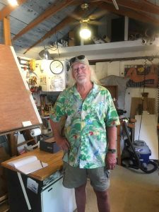 Ed Helmstead in his backyard studio. (photo by Lisa Truesdale)