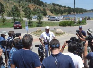 Pelle briefing media during the Nederland Cold Springs Fire in July. (photo courtesy Sheriff's Office)