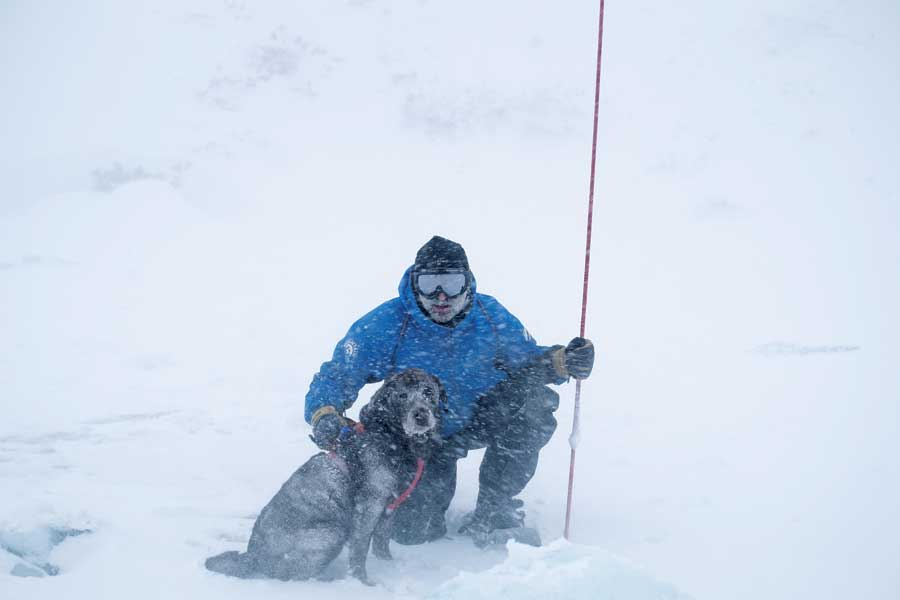 Jeff Sparhawk—a 25-year volunteer with Rocky Mountain Rescue and Front Range Rescue Dogs—with his dog Hiydn on an avalanche search, January 2016. (photo © by Dale Atkins)