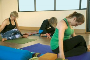 In yin yoga, the poses aren't  strenuous, but they are held for several minutes to stretch and lengthen connective tissues.