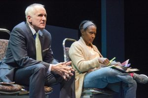 Sam and Jada in White Guy on the Bus. -Curious Theatre