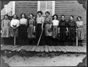 """The Gold Hill girls' baseball team around 1890. Girls and women did play the game, but no local group had fancy """"suits"""" or was recognized as a club. Concern for female players'—and even spectators'—modesty was paramount.(Photo courtesy Carnegie Branch Library for Local History/Boulder Historical Society collection)"""