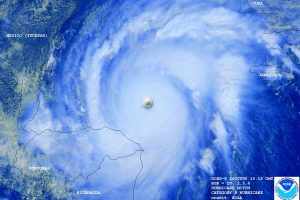 """Hurricane Mitch approaches Honduras as a Category 5 hurricane on Oct. 26, 1998. The hurricane packed wind speeds of 180 mph. """"It brought viscerally to my attention the importance of working on these issues,"""" says Max Boykoff, who was living in Honduras at the time. (photo by NOAA)"""